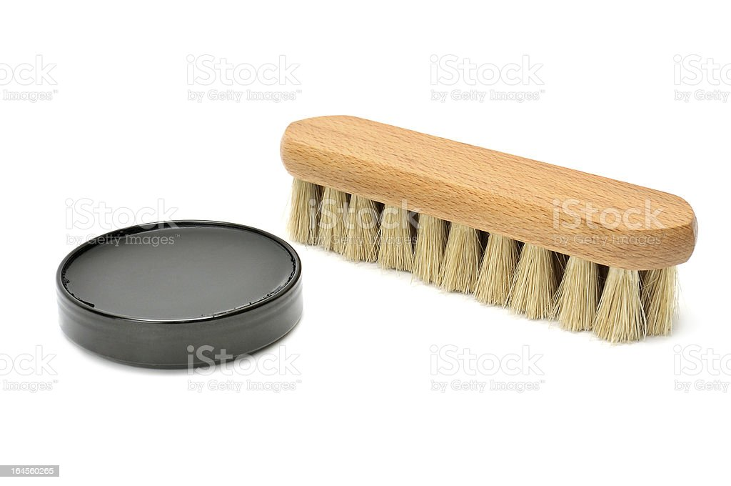 shoe polish and brush royalty-free stock photo