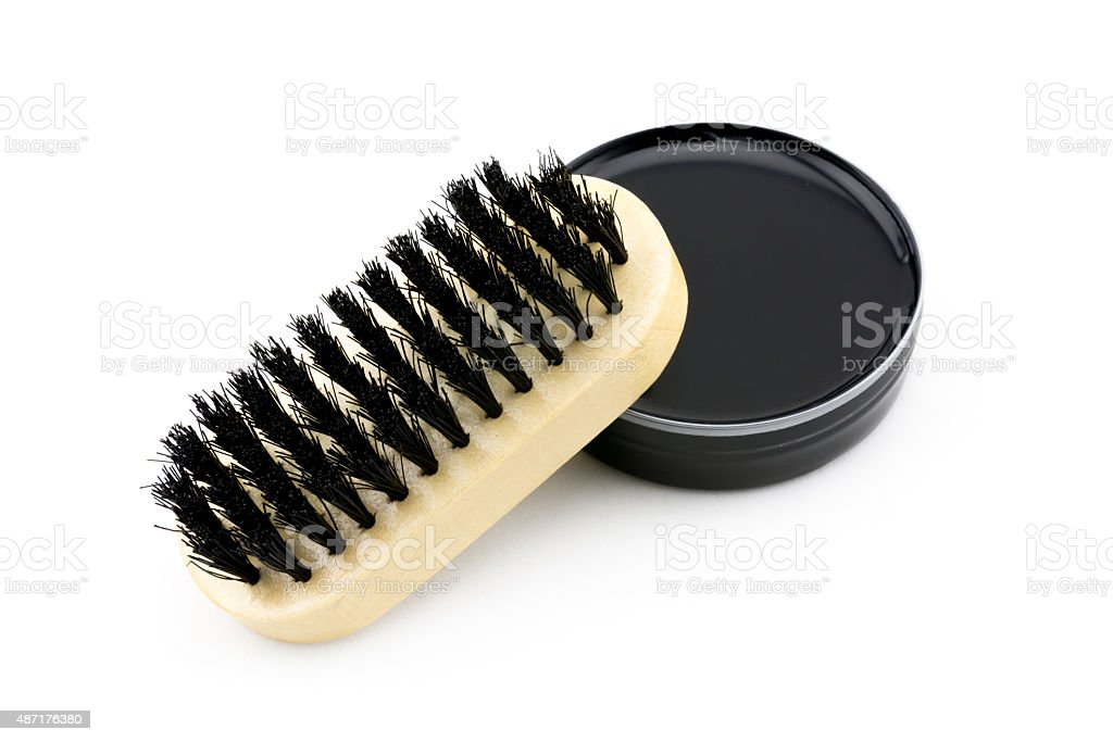 Shoe polish and brush stock photo