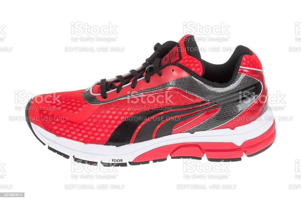 PUMA shoe. Puma, a major German company. Isolated. Product shots stock photo