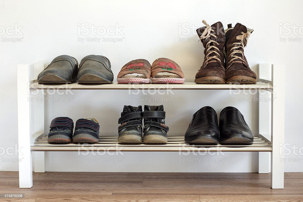 Shoe shelf at home stock photo