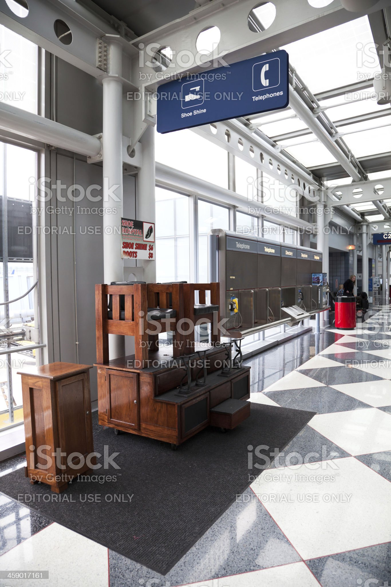 Shoe shine service at O'Hare Airport in Chicago royalty-free stock photo