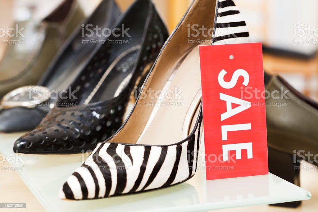 Shoe Store Sale Sign, Retail Label for High Heals Fashion royalty-free stock photo