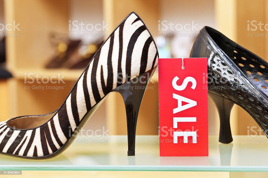Shoe Store Sale Sign, Retail Label for High Heals Fashion stock photo