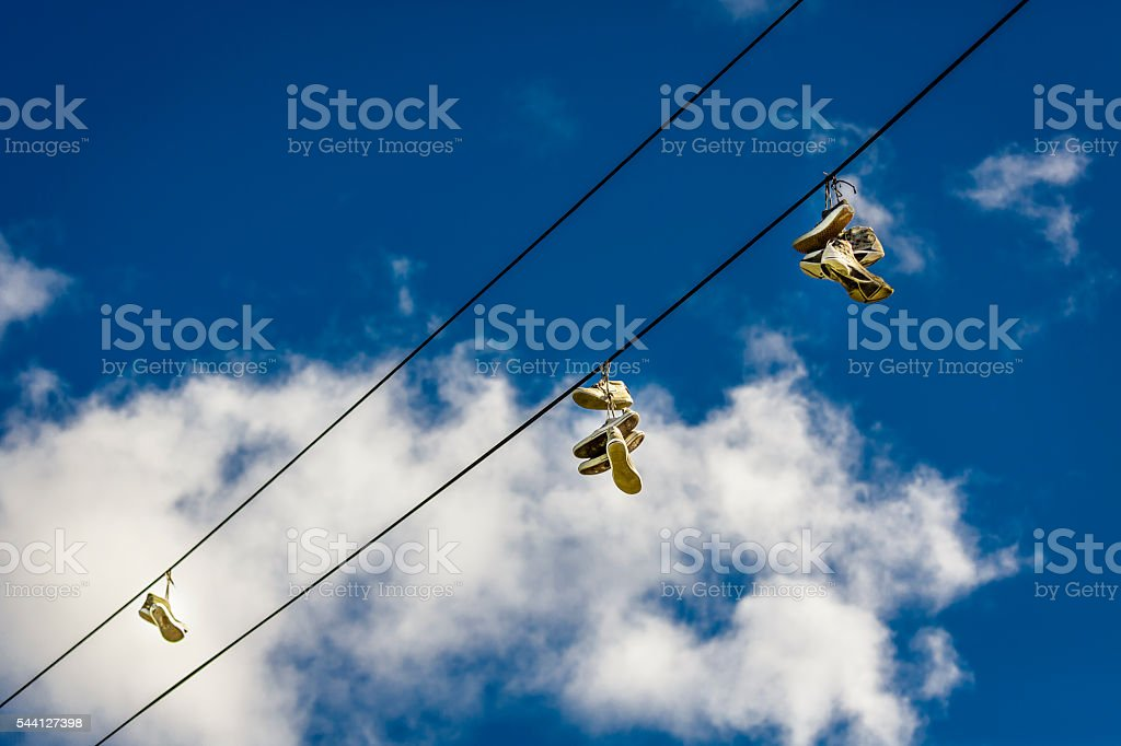 Shoe Tossing stock photo