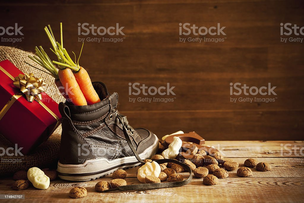 Shoe with carrots, for traditional Dutch holiday 'Sinterklaas' royalty-free stock photo