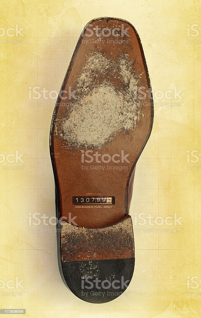 shoe with mileage royalty-free stock photo