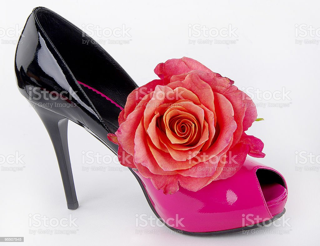 Shoe with rose royalty-free stock photo
