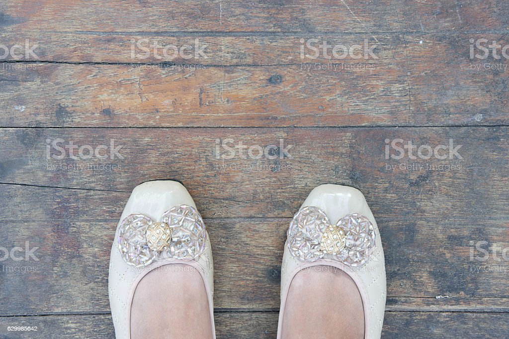 shoe women with wooden background dirty style stock photo