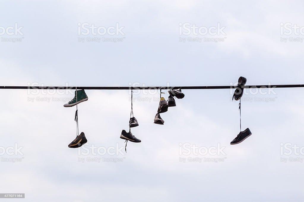 Shoefitti stock photo