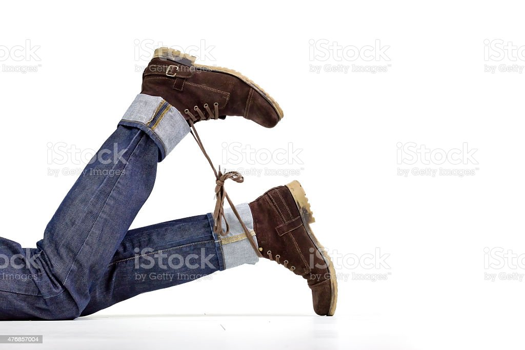 Shoelace prank stock photo