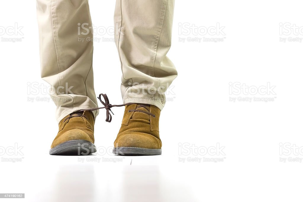 Shoelaces tied stock photo