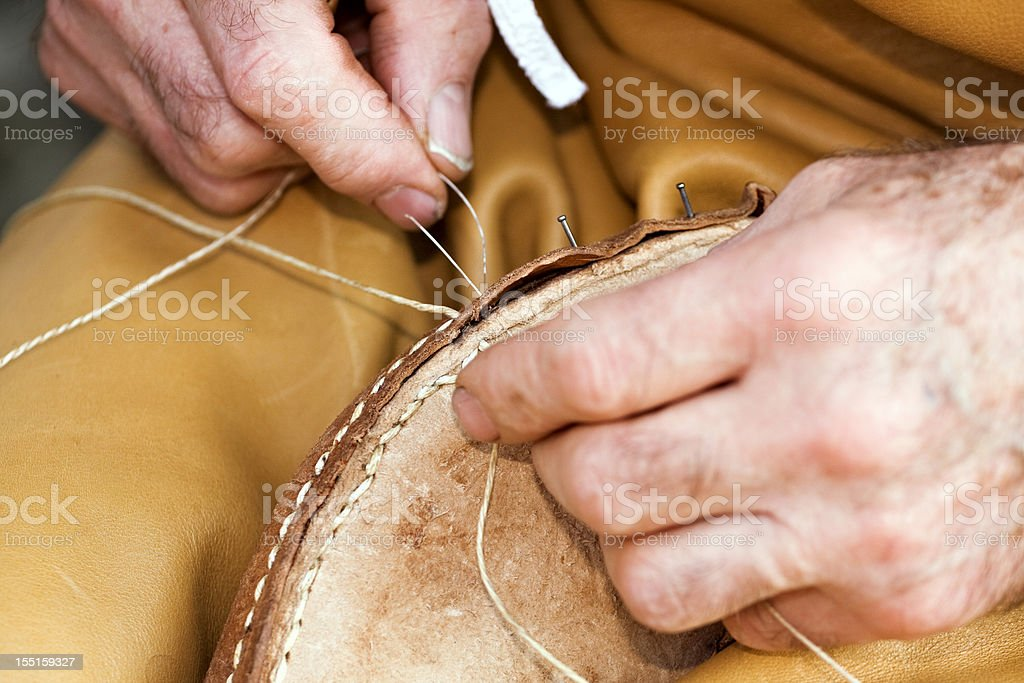 Shoemaker at work royalty-free stock photo