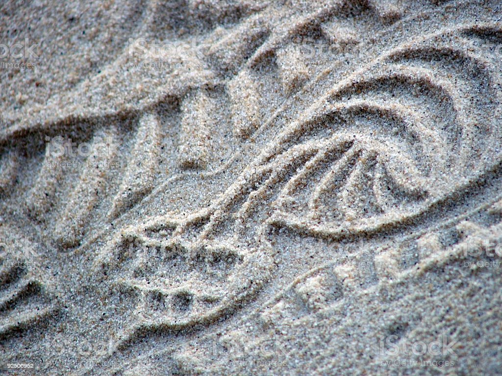 Shoeprint in sand royalty-free stock photo