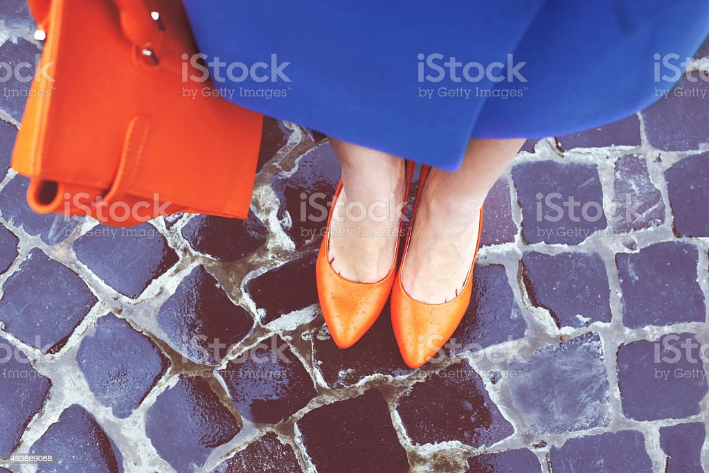 Shoes and bag stock photo