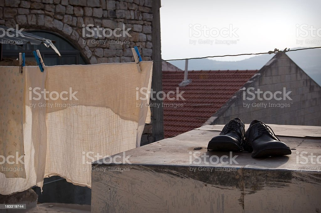 Orthodox shoes and laundry in Israel stock photo