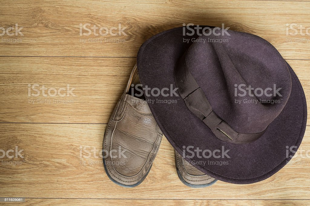 Shoes and fedora hat stock photo