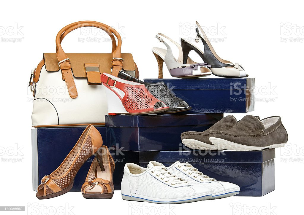 Shoes and handbag on boxes royalty-free stock photo