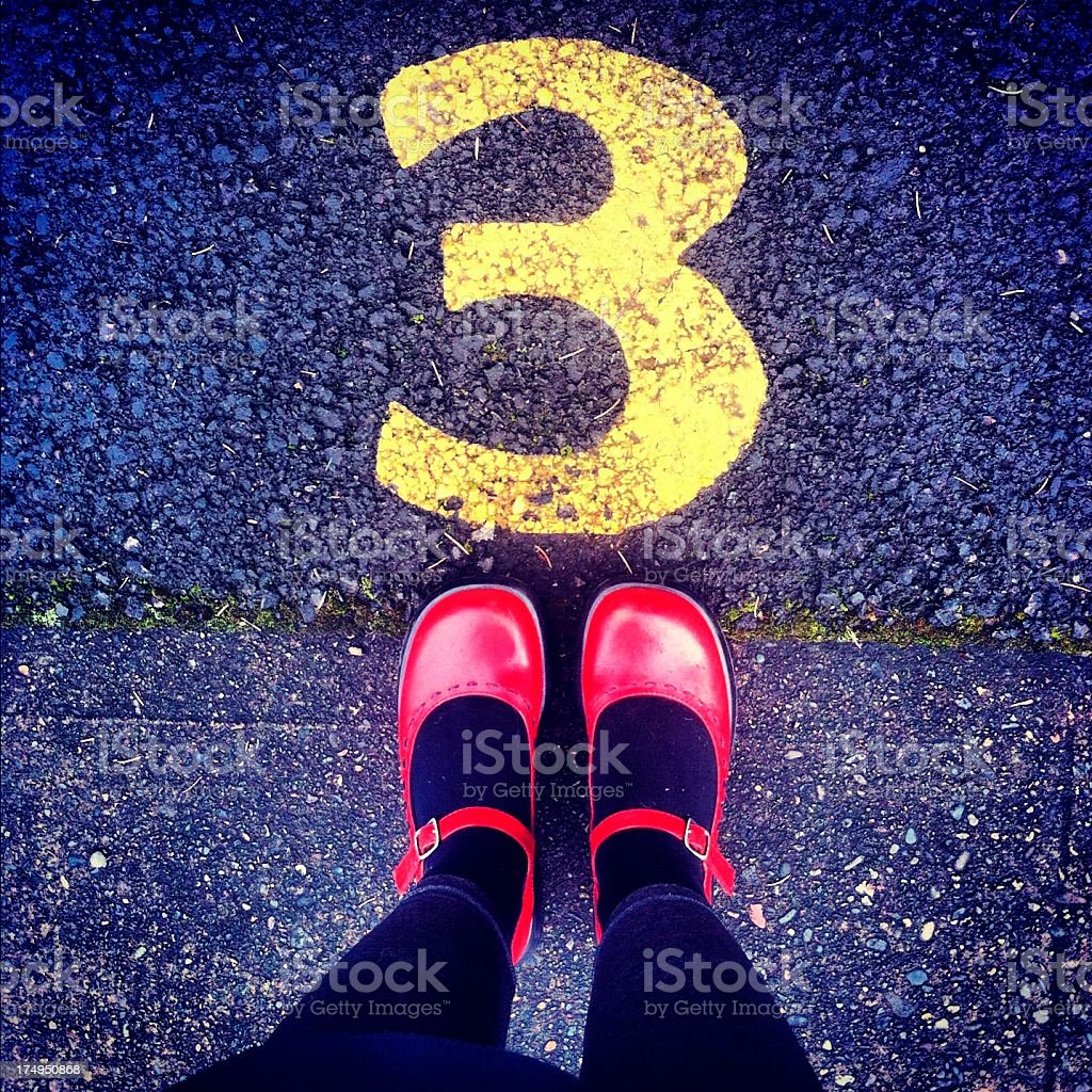 Shoes and number 3 royalty-free stock photo