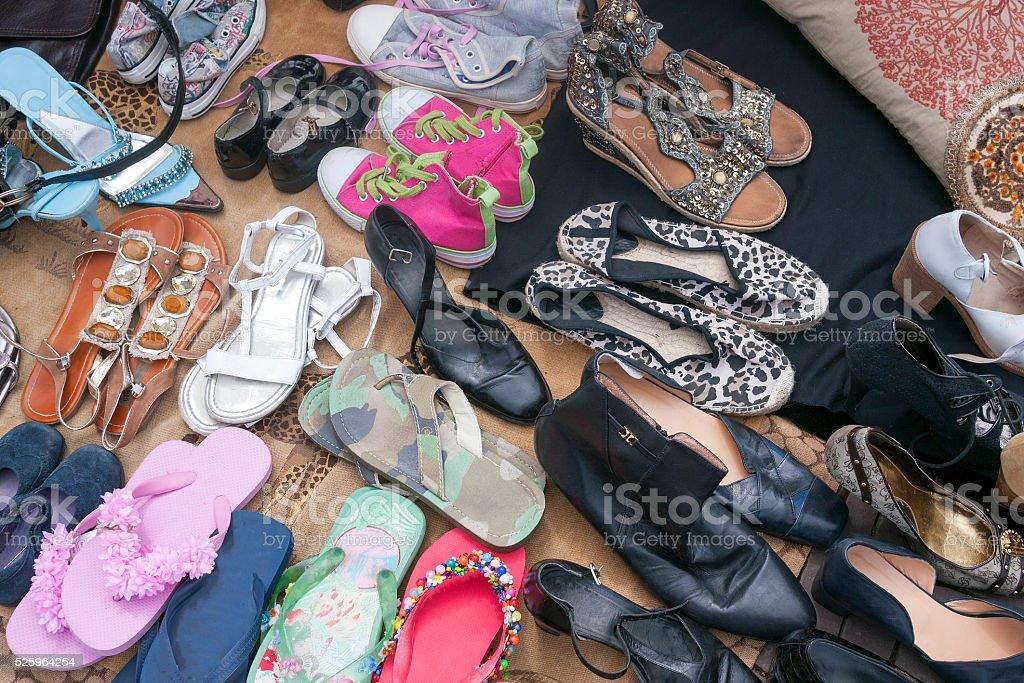 Shoes at a flea market stock photo