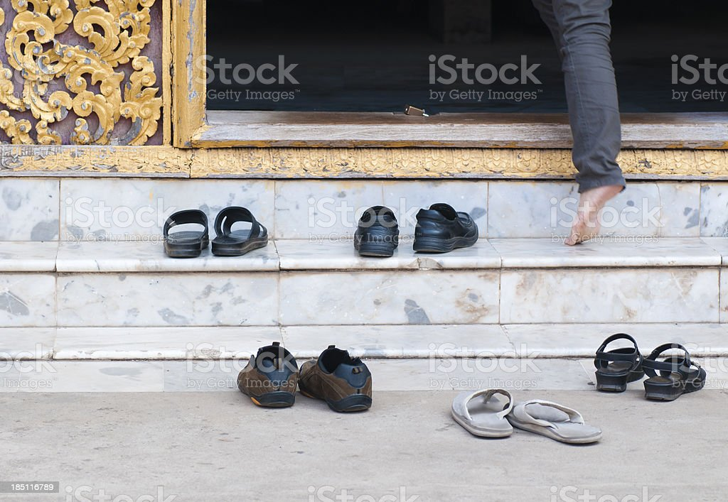 Shoes at Buddhist Temple Entrance stock photo