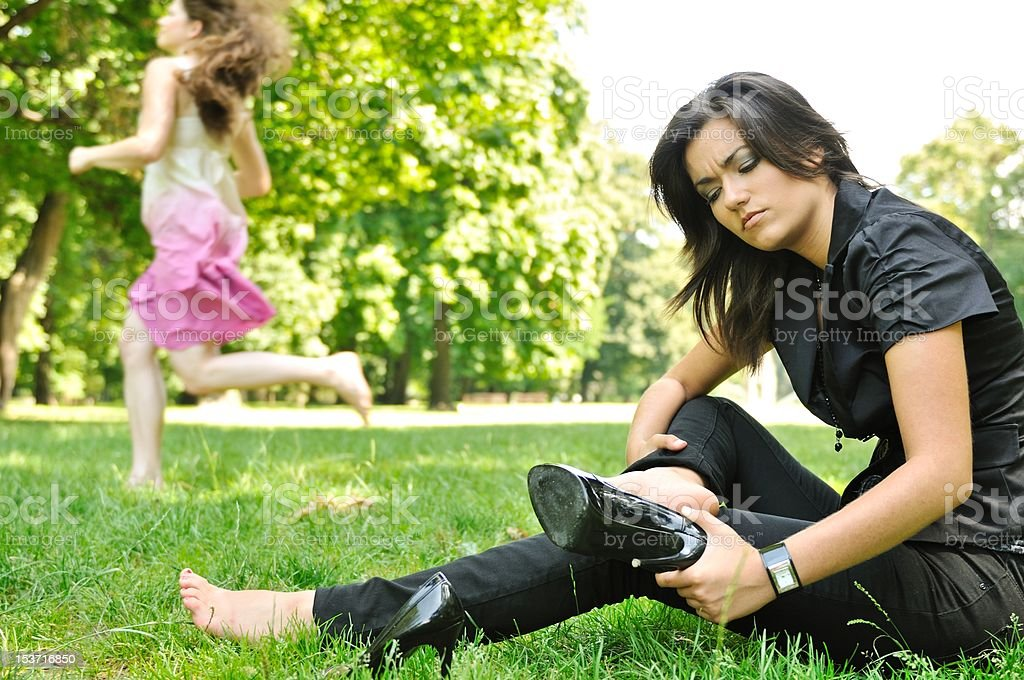 Shoes away - return to nature royalty-free stock photo