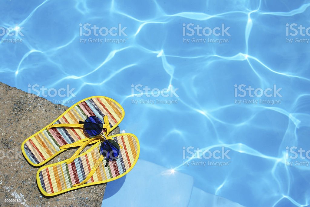 Shoes By Pool stock photo