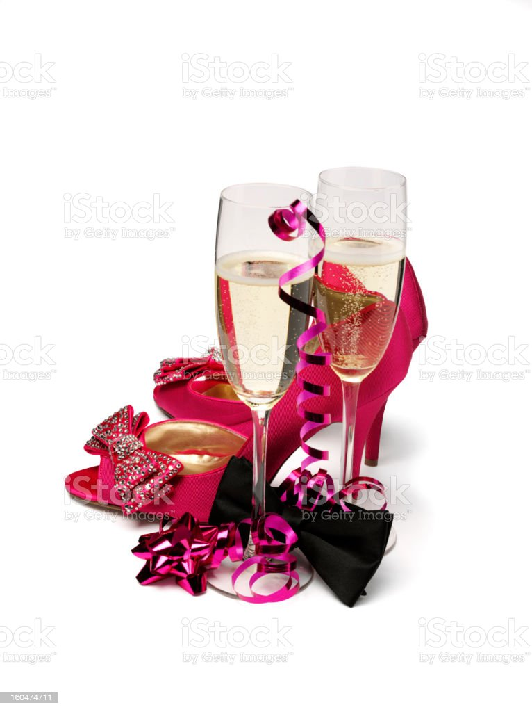 Shoes, Champagne and Bow Tie royalty-free stock photo