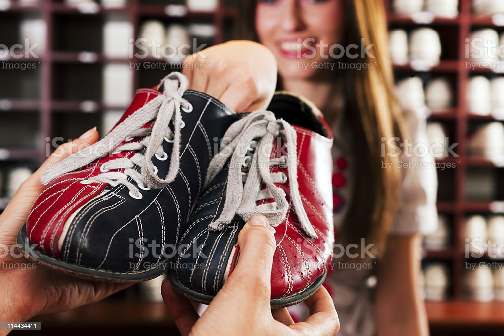 Shoes for bowling stock photo