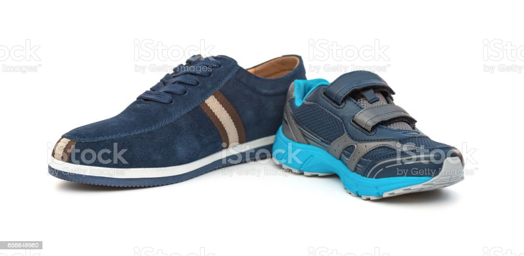 shoes for men and kids on white background family concept stock photo