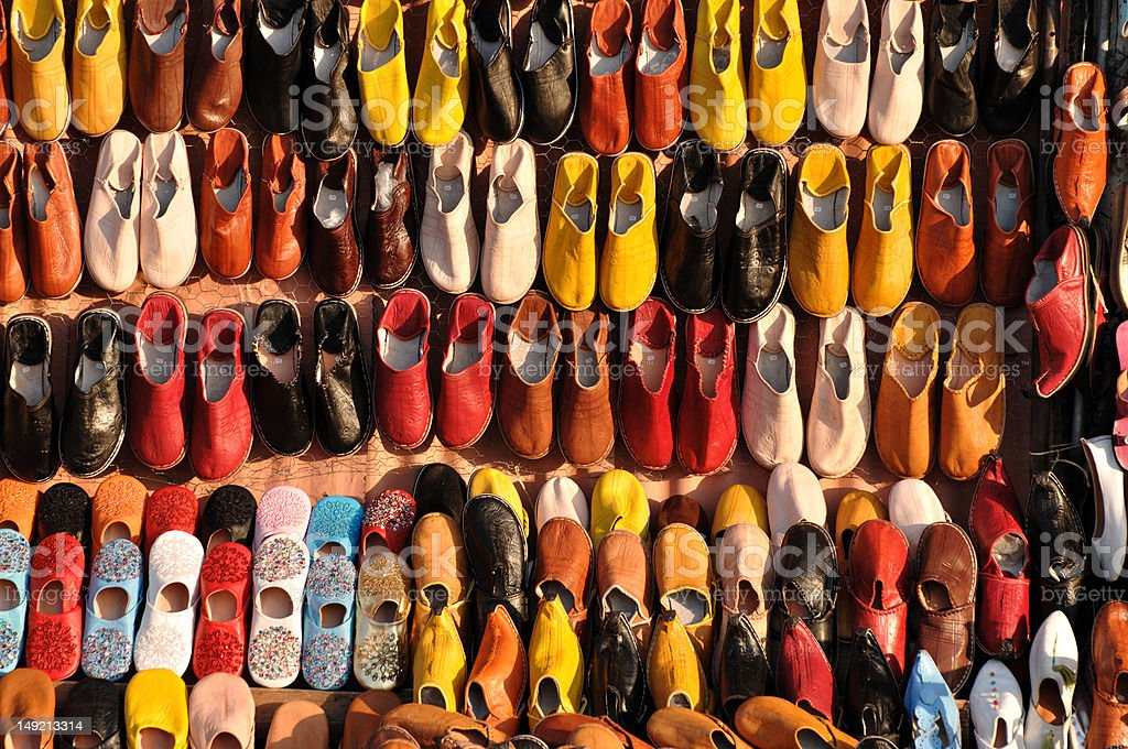 Shoes for sale in Marrakech royalty-free stock photo