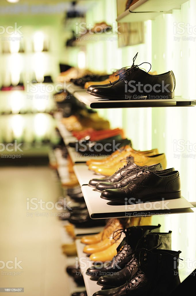 Shoes in brightly lit store royalty-free stock photo