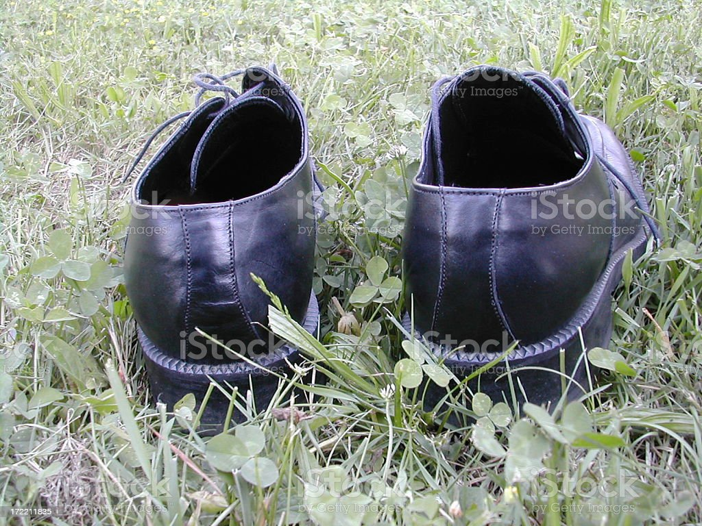 shoes in the grass royalty-free stock photo