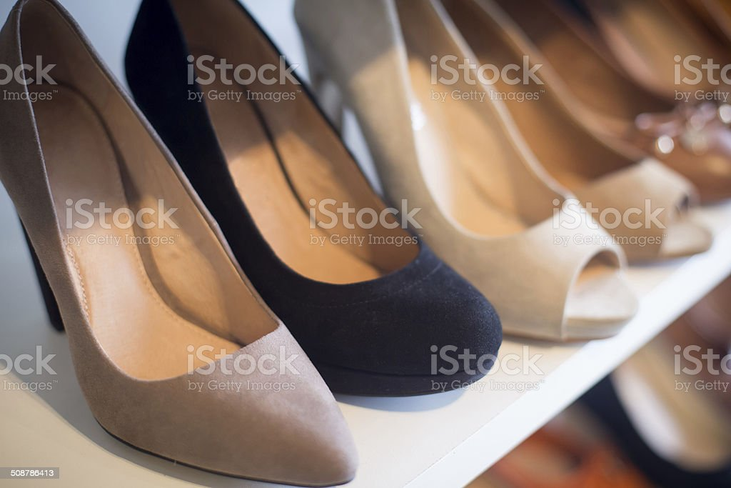 Shoes in the store stock photo