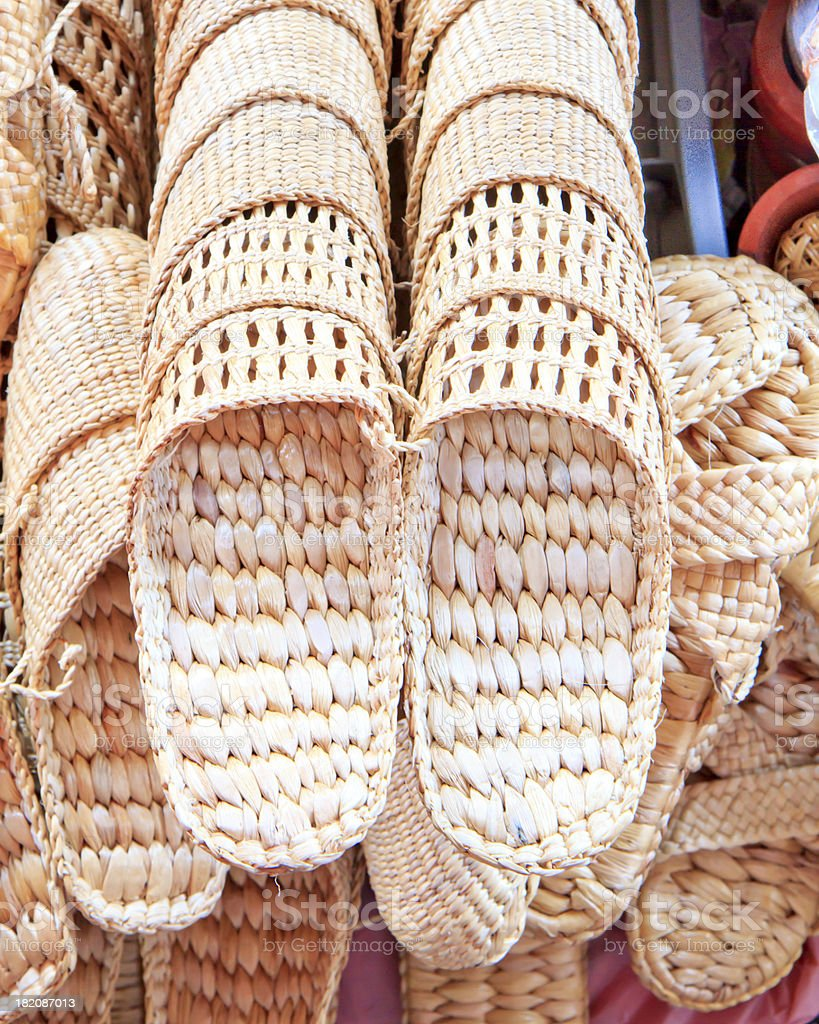 shoes made of straw stock photo
