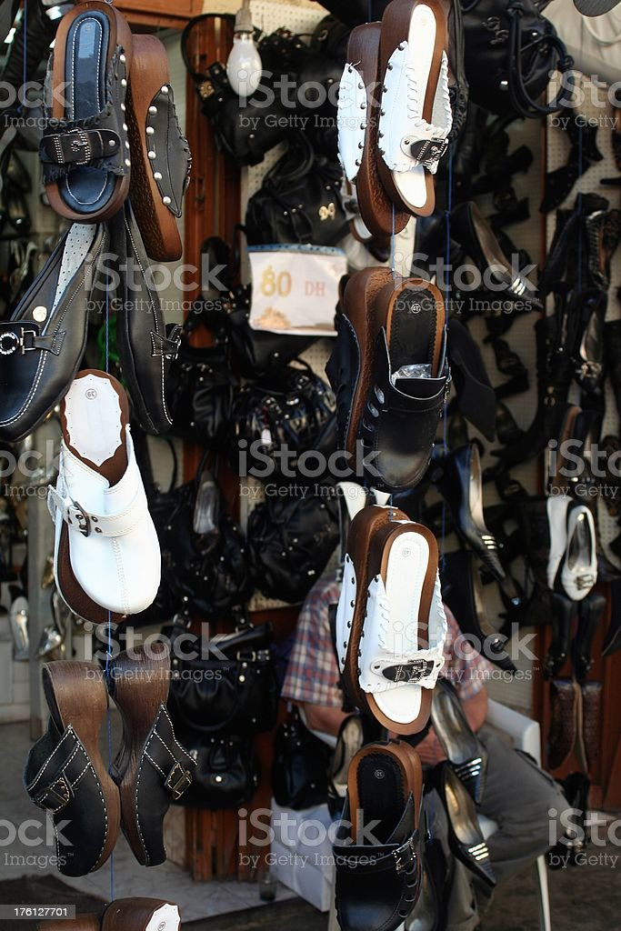 Shoes market at Fez stock photo