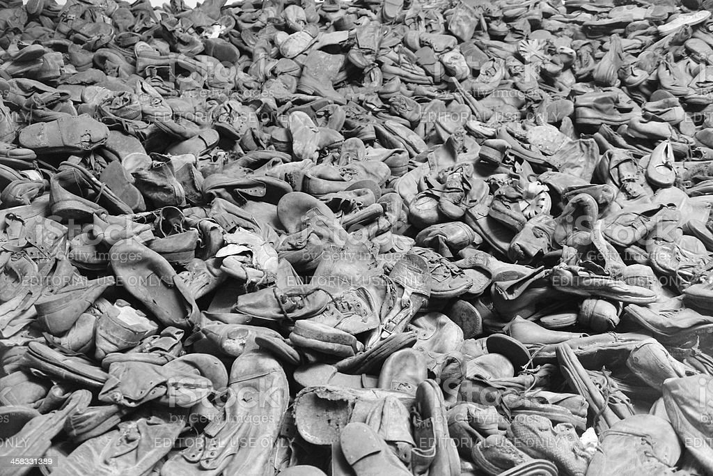 Shoes of deported in Auschwitz stock photo