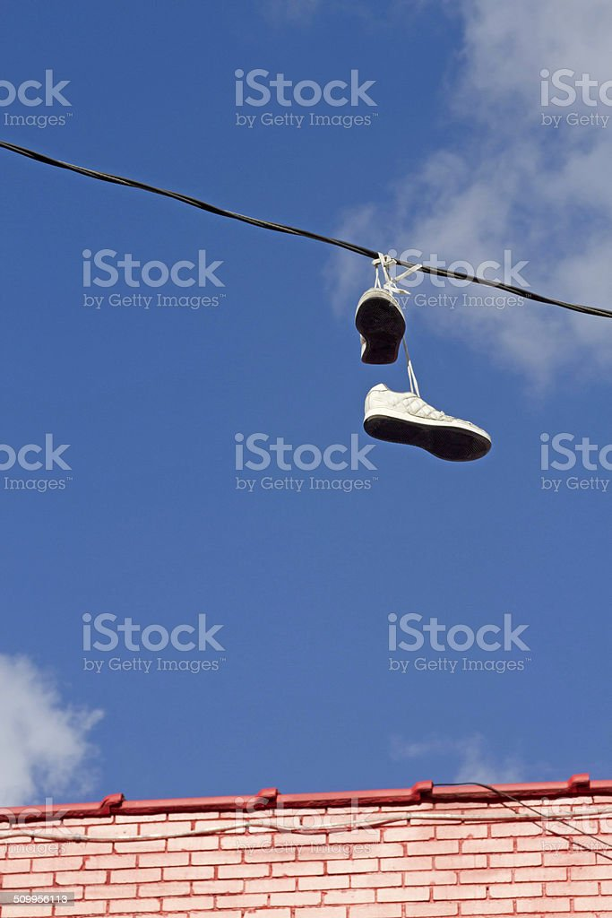 Shoes On a Wire stock photo