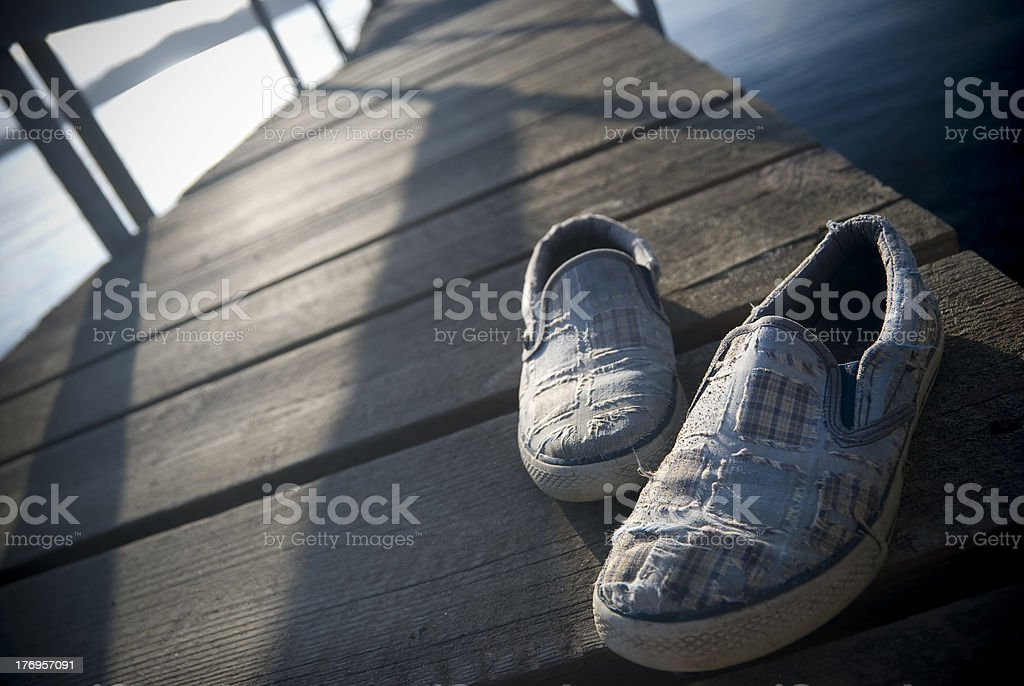 Shoes on Dock royalty-free stock photo
