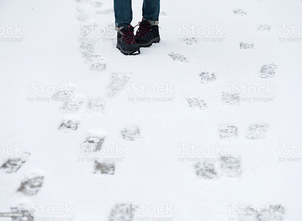 Shoes on snow stock photo
