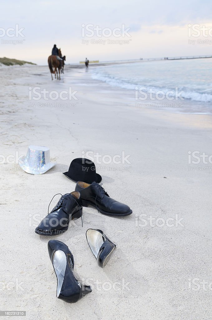 Shoes on the Beach After Party royalty-free stock photo