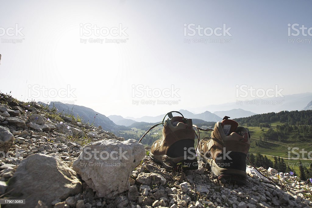 Shoes on the rock royalty-free stock photo