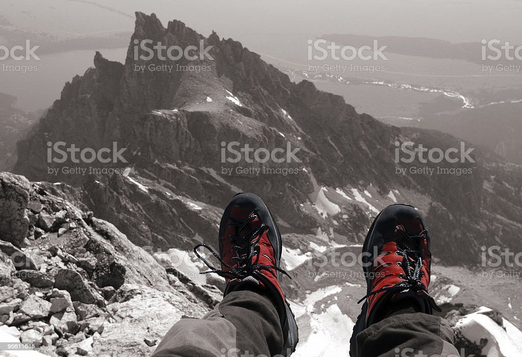 Shoes on the summit stock photo