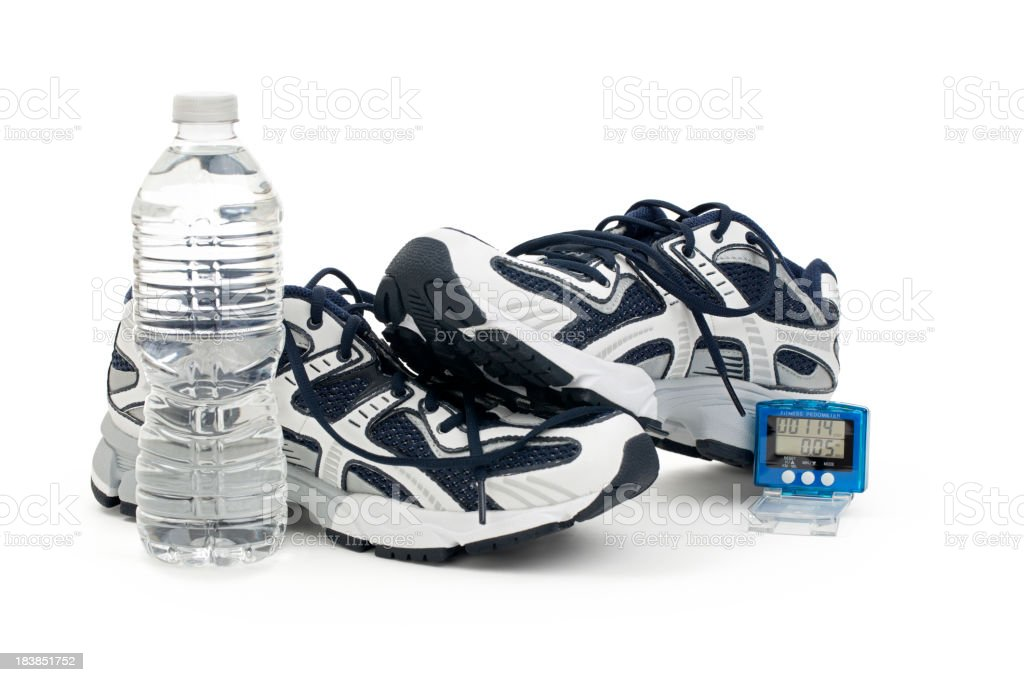 Shoes Pedometer and Water Bottle royalty-free stock photo
