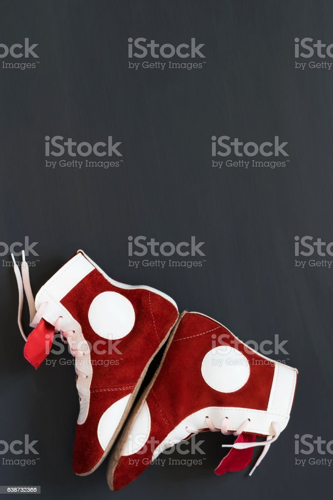 Shoes protect the feet in sports of Greco-Roman wrestling stock photo