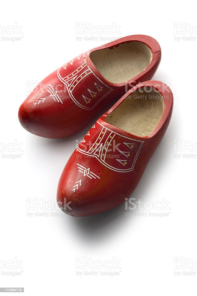 Shoes: Red Dutch Clogs stock photo