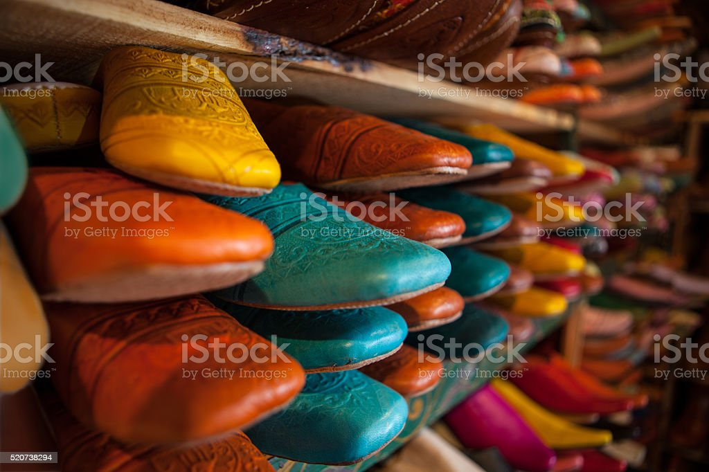 Shoes stacked in a store near the tanneries of Fez stock photo