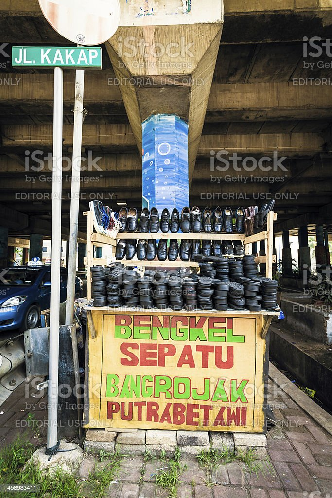 Shoes Stall in Jakarta, Indonesia royalty-free stock photo