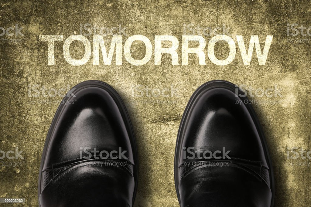 Shoes With Text Tomorrow stock photo