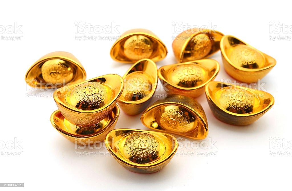 Shoe-shaped gold ingot (Yuan Bao) stock photo