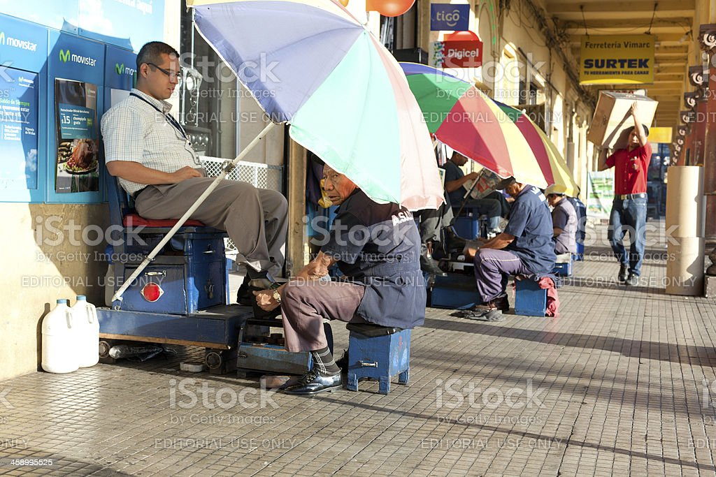 Shoeshiner stock photo